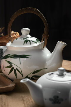 Close-up view of the porcelain teapot