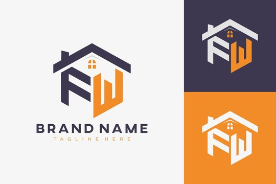 hexagon FW house monogram logo for real estate, property, construction business identity. box shaped home initiral with fav icons vector graphic template