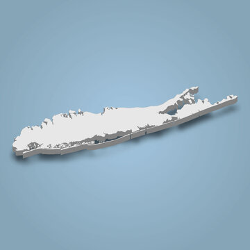 3d isometric map of Long Island is an island in New York