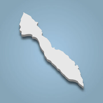 3d isometric map of Lummi is an island in Washington state