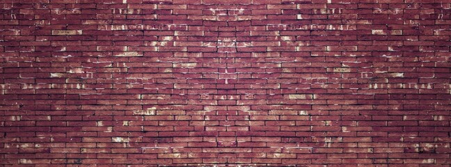 Old vintage retro style red bricks wall for panorama brick background and texture.