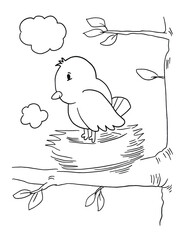 Cute Bird in Nest Coloring Book Page Vector Illustration Art