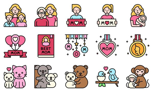 Mother day related filled vector icon set 2