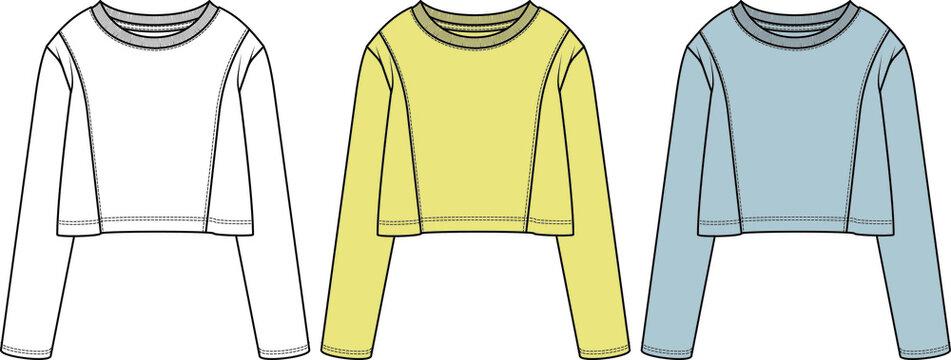 vector flat sketch o neck long sleeve t-shirt design for women