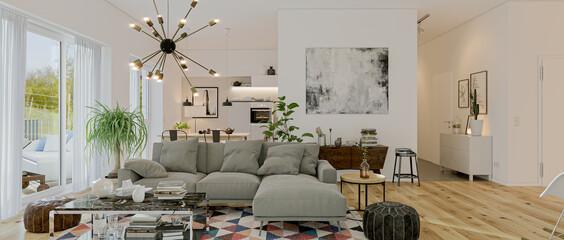 Fototapeta modern luxury european apartment loft with scandinavian furniture design obraz