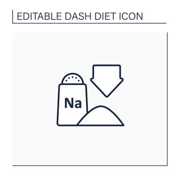 Low sodium line icon. Exclude processed and packaged foods. Chips, frozen dinners and fast food. Without salt food. Dash diet concept. Isolated vector illustration.Editable stroke