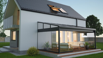 Fototapeta Terrace canopy - winter garden, 3d illustration obraz