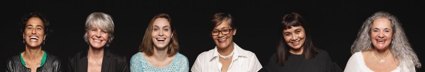 Panoramic shot of cheerful senior women