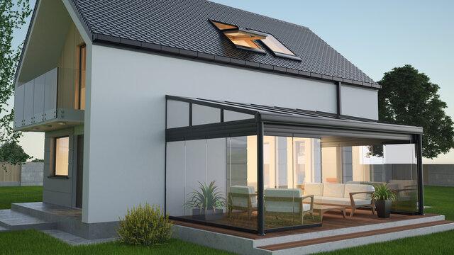 Terrace canopy - winter garden, 3d illustration