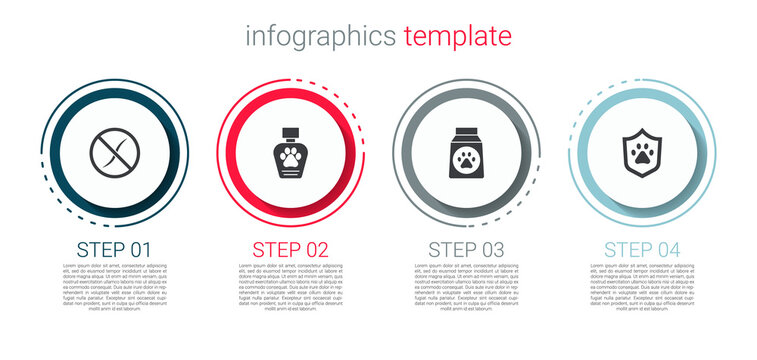 Set Anti worms parasite, Pet shampoo, Bag of food and Animal health insurance. Business infographic template. Vector