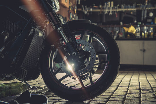 Modern Motorcycle Inside Residential Garage