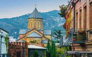 Fototapeta The Metekhi Virgin Mary Assumption Church in Tbilisi