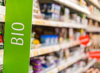 Fototapeta Bio food products in a supermarket obraz