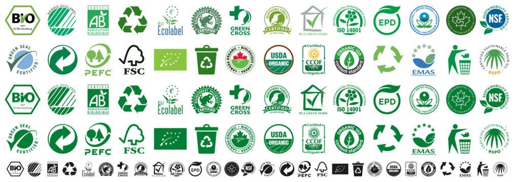 Kiev, Ukraine - May 02, 2021: Set eco logos certified company. BIO, Nordic Ecolabel, Certifie Agriculture Biologique, Rainforest Alliance, Green Cross, PEFC, FSC, Canada Organic. Editorial vector