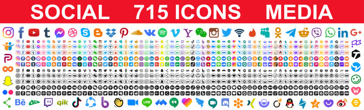 Kiev, Ukraine - May 02, 2021: Set of 715 popular social media icons. Facebook, instagram, twitter, youtube, pinterest, behance, google, linkedin, whatsap, snapchat and many more. Editorial vector