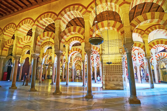 The column hall of Mezquita-Catedral, on Sep 30 in Cordoba, Spain