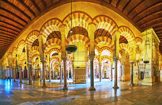Panorama of the Hypostyle Hall of Mezquita, on Sep 30 in Cordoba, Spain
