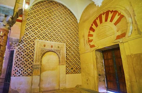 Preserved Moorish decorations of Villaviciosa Chapel of Mezquita, on Sep 30 in Cordoba, Spain