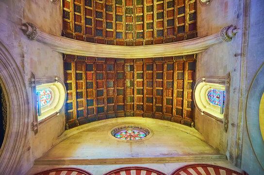 The Gothic vault of Villaviciosa Chapel, Mezquita, on Sep 30 in Cordoba, Spain