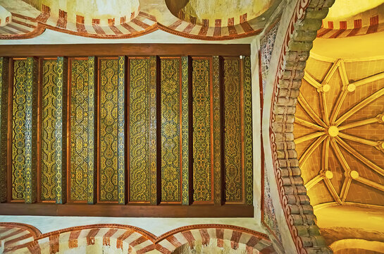The original timber ceiling of medieval Grand Mosque, Mezquita, on Sep 30 in Cordoba, Spain