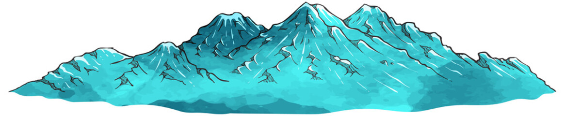 Canvas Prints Turquoise Hand drawn mountains watercolor vector illustration