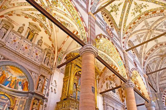 The painted vault of Santa Anastasia Church, on April 23 in Verona, Italy
