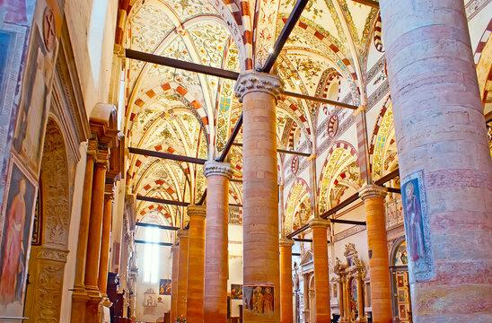 The stone columns in Santa Anastasia Church, on April 23 in Verona, Italy
