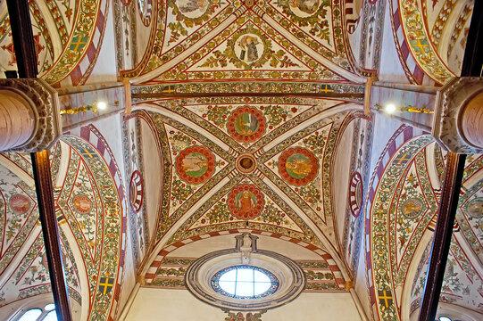 The frescoes of Santa Anastasia Church, on April 23 in Verona, Italy