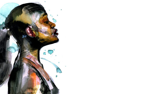 Beautiful African woman portrait in watercolor with splatter in abstract form