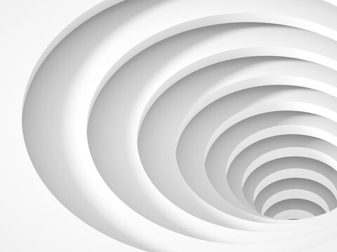 Abstract empty white tunnel portal goes down, 3 d