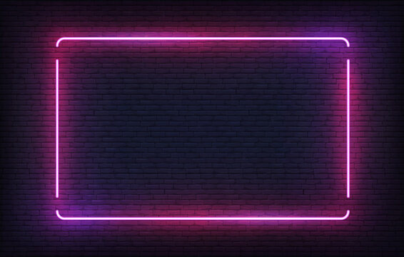 Neon frame. Purple light banner design template. Vector glowing rectangle signboard