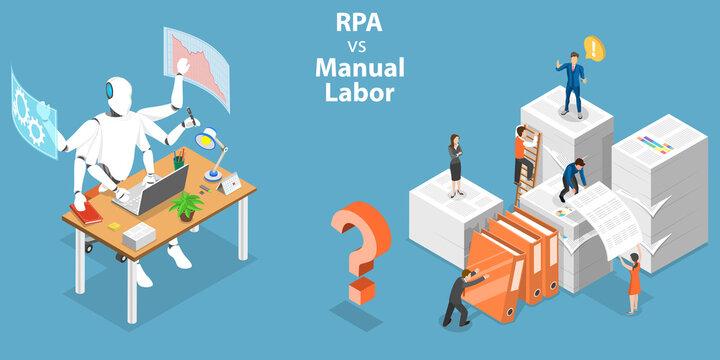3D Isometric Flat Vector Conceptual Illustration of RPA vs Manual Labor