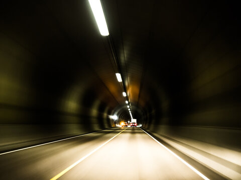Driving through the longest tunnel in Europe