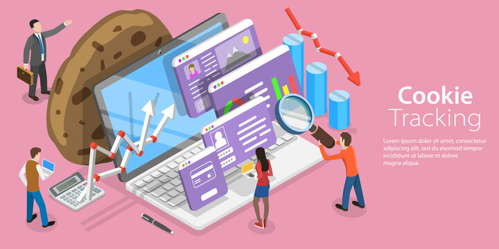 3D Isometric Flat Vector Conceptual Illustration of Website Cookie Tracking