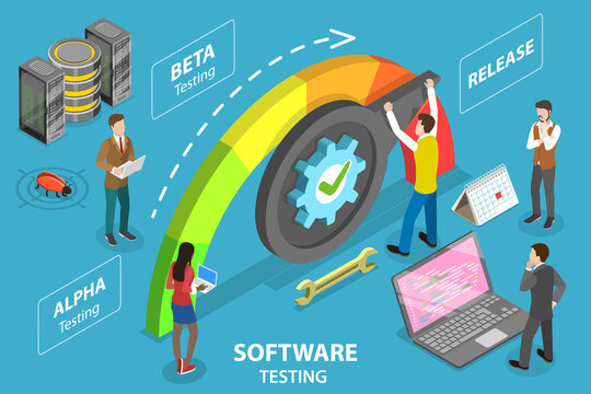 3D Isometric Flat Vector Conceptual Illustration of Software Testing