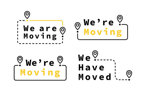 We have moved geometric badge set with map pin. Logo for your business. Vector illustration