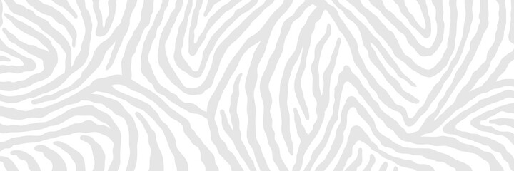 Vector abstract animalistic background. Freehand illustration of zebra skin print. Long horizontal banner.