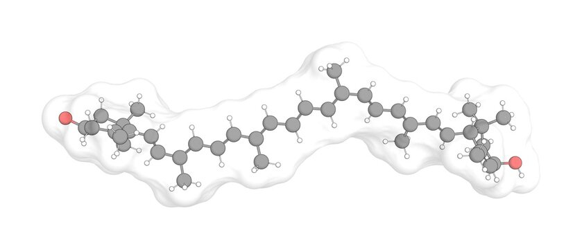 3D rendering of Lutein with white transparent surface over a white opaque background. Also called xanthophyll and bo-xan.