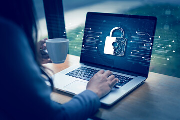 Fototapeta CYBER SECURITY Business  technology Antivirus Alert Protection Security and Cyber Security Firewall Cybersecurity and information technology obraz