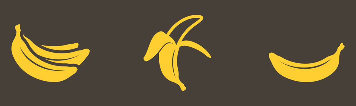 Vector graphic one-color ripe yellow bananas set on a gray background.