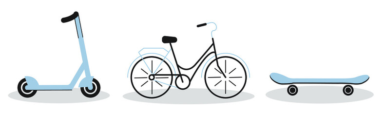 a set of three images. the set contains a bicycle, a skateboard, and a scooter