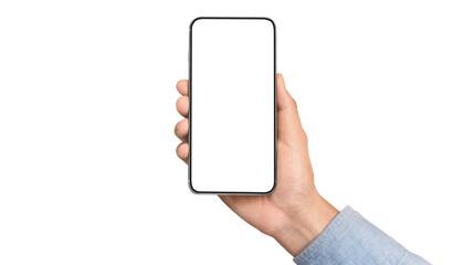 Fototapeta Hand holding smartphone device touching screen obraz