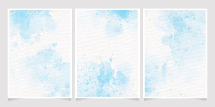 light blue watercolor wet wash splash on paper birthday or wedding invitation card background template collection