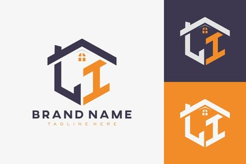 Fototapeta hexagon LI house monogram logo for real estate, property, construction business identity. box shaped home initiral with fav icons vector graphic template obraz