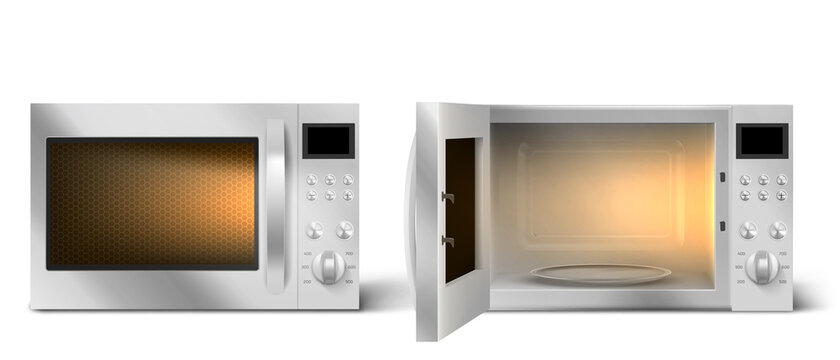 Modern microwave oven with open and closed door and lit lamp inside. Kitchen electric appliance for cooking food. Vector realistic 3d empty white microwave oven with display, buttons and glass plate