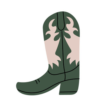 Green Сowboy boot with ornament.  Wild West theme. Hand drawn colored trendy Vector isolated illustration.