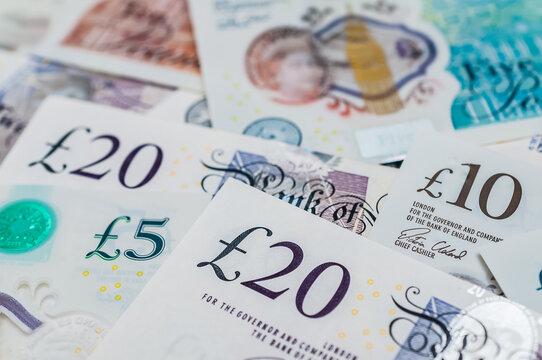 British pounds banknotes