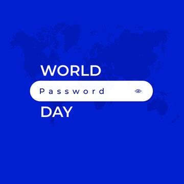 World Password Day. blue background