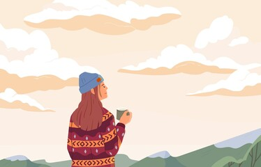 Obraz Young woman enjoying peaceful landscape, relaxing, looking at sky with clouds, drinking tea and dreaming. Inspiration concept. Colored flat vector illustration of person alone with nature - fototapety do salonu