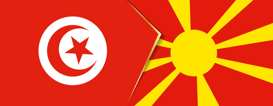 Tunisia and Macedonia flags, two vector flags.